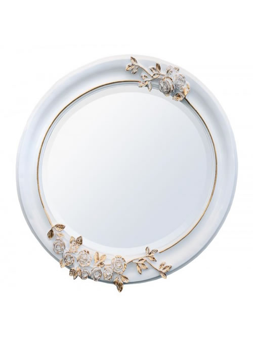 Oval wooden mirror white and gold for White and gold mirror