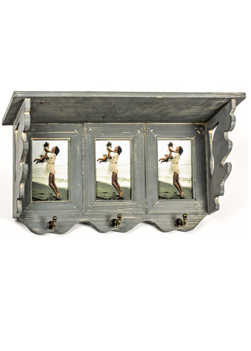 Grey Picture Frame Wall Shelf With Hooks - Interior Flair