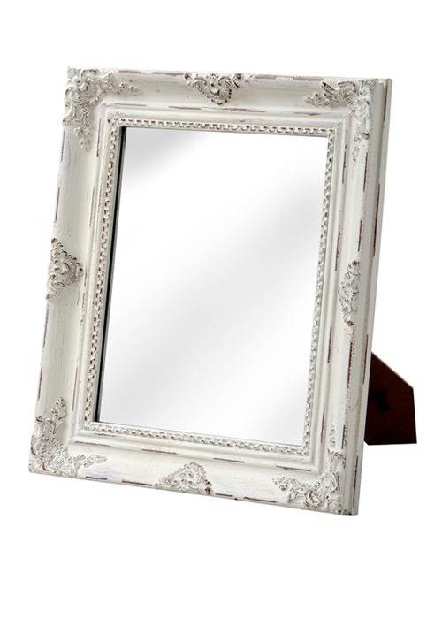 Baroque style antique white table mirror interior flair for Rectangular baroque mirror