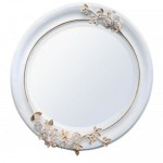 Oval Wooden Mirror White Gold