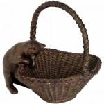Cat Peering in Basket