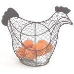 PC031 Hen Chicken Grey Wire Egg Basket