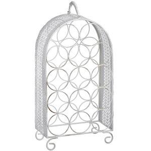 14230-a white metal 14 bottle wine rack