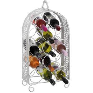 14230 white metal 14 bottle wine rack
