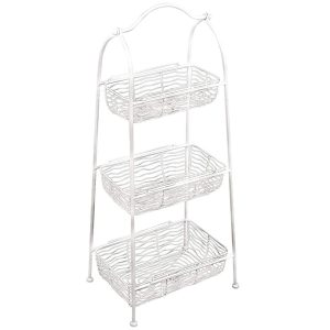 AHL038 white wire basket shelf unit