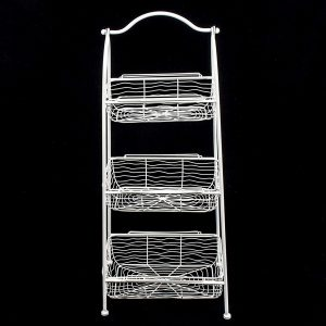 AHL038_1 white wire basket shelf unit