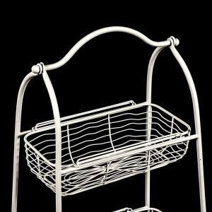 AHL038_2 white wire basket shelf unit