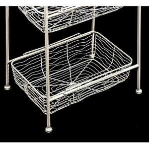 AHL038_3 white wire basket shelf unit
