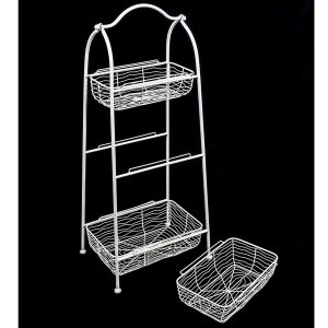 AHL038_4 white wire basket shelf unit