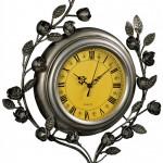BIM004__1 metal leaves yellow wall clock