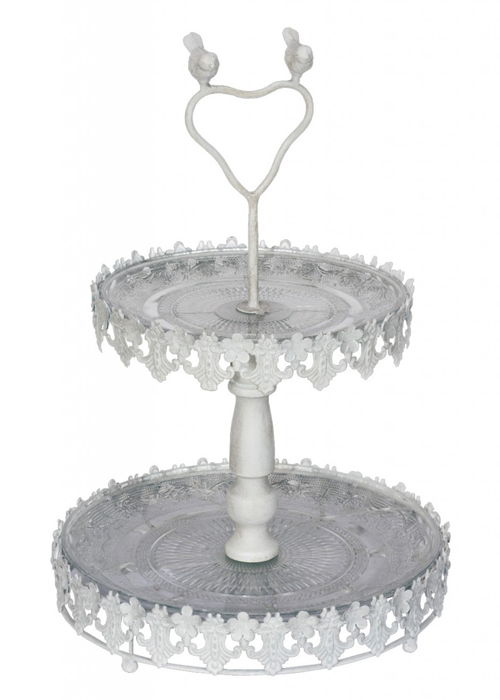 QWY009__white bird metal cake stand