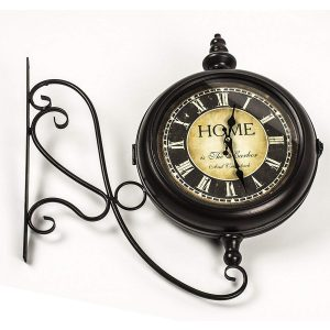 REL014_2 double sided station style wall clock