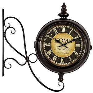 REL014__1 double sided station style wall clock