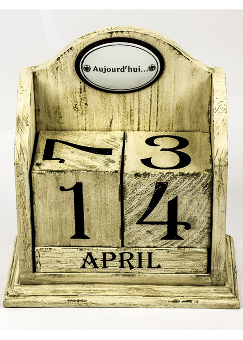 Shabby Chic Cream Wood Block Perpetual Calendar Interior Flair