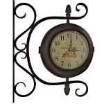WBD012__1 floral station style brown wall clock