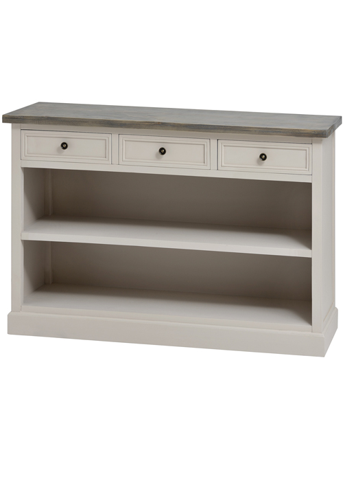16247 Grey Country Style Low Bookcase