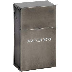 17541 Antique Pewter Grey Metal Match Box Holder