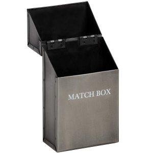 17541-a Antique Pewter Grey Metal Match Box Holder