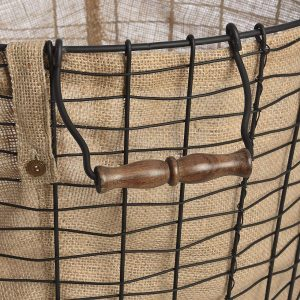 17546-a round brown basket linen lining
