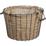 17546 round brown basket linen lining