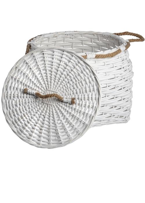 17744- a large white woven wicker basket