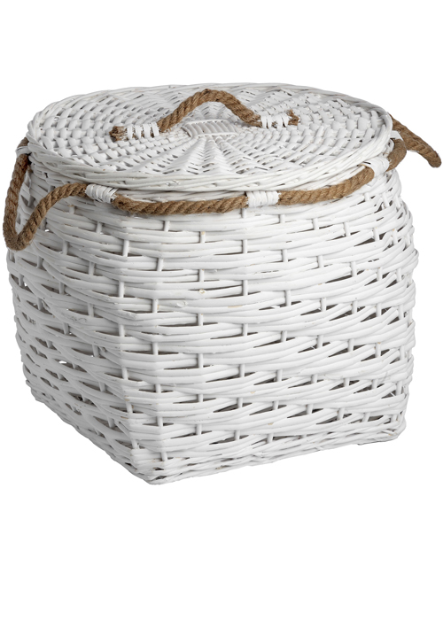 17744 large white woven wicker basket