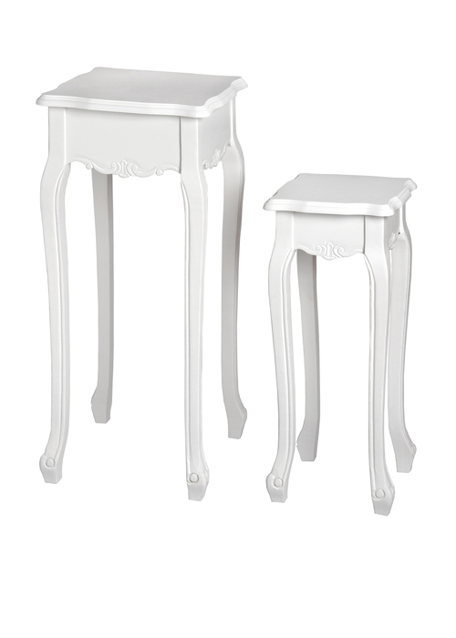 17965-a white pair plant stands tables