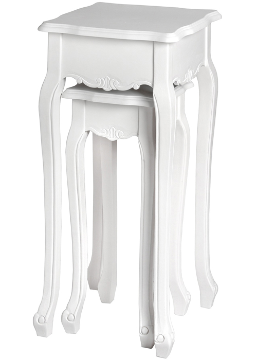 17965 white pair plant stands tables