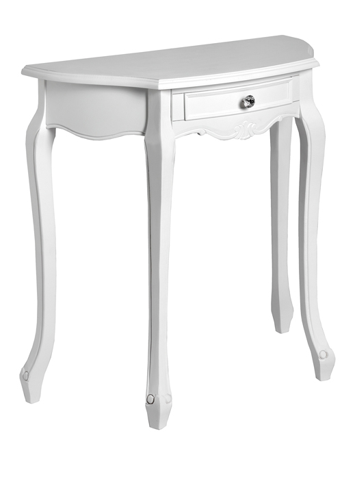 French Country White Console Half Moon Table Interior Flair