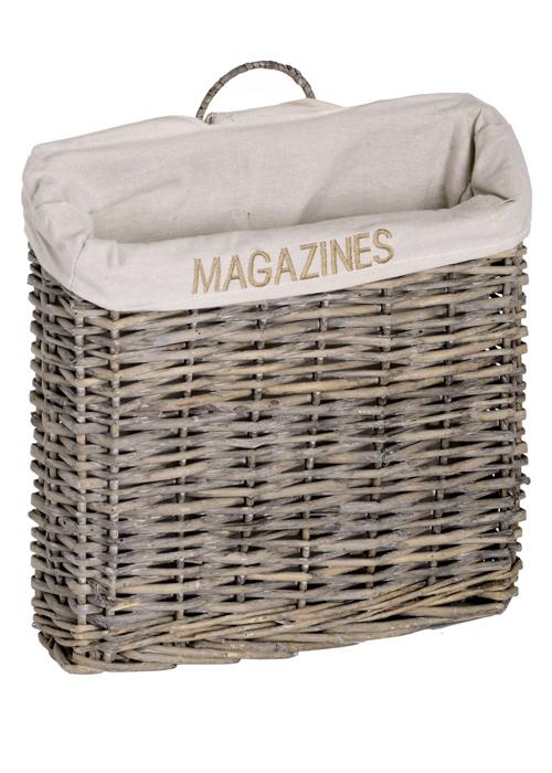 2610-a rustic wicker fabric magazine rack