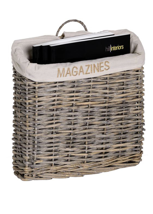 2610 rustic wicker fabric magazine rack