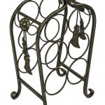 BIM019 grey metal ornate decorative bottle rack
