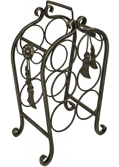 BIM019 grey metal ornate decorative bottle rack