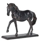 DSL131 Antique Brown Prancing Horse Pony Ornament