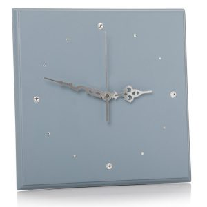 Dark Blue Silver Square Clock