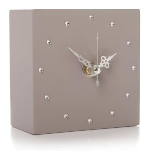 Grey Cube Square Silver Clock