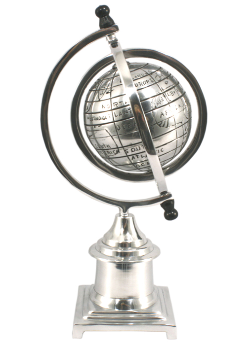 HV005_1 Sturdy Polished Aluminium Classic Armillary Globe Ornament On Base