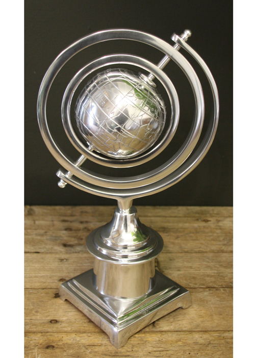 HV005_2 Sturdy Polished Aluminium Classic Armillary Globe Ornament On Base