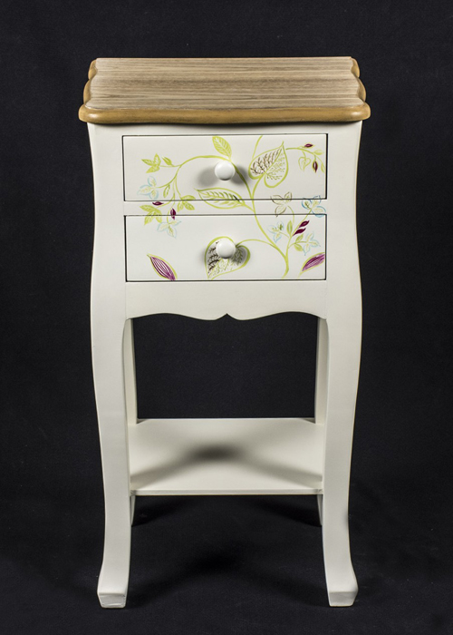 PGO057_1 Country Style Floral Bedside Table