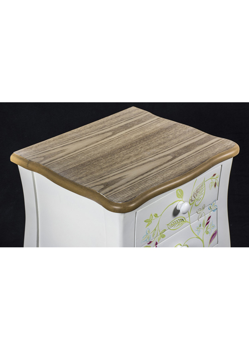 PGO057_2 Country Style Floral Bedside Table