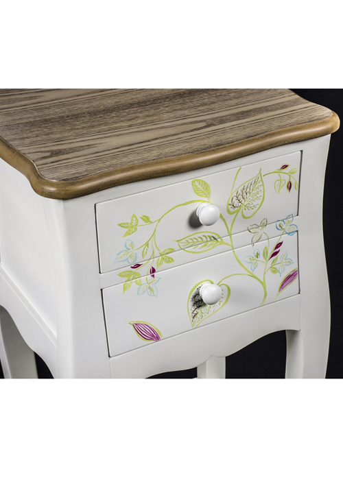 PGO057_3 Country Style Floral Bedside Table