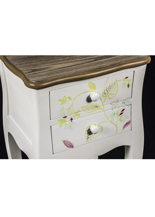 PGO057_4 Country Style Floral Bedside Table