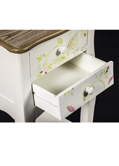 PGO057_5 Country Style Floral Bedside Table