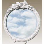 TBM146B-PW-20-20 round white floral mirror