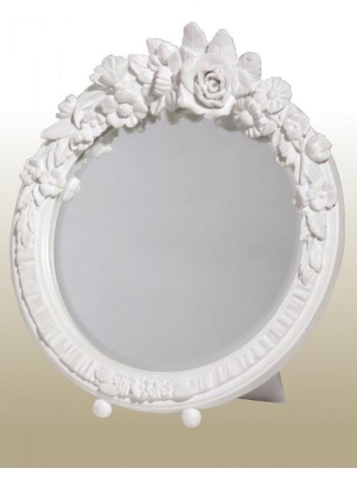 TBM211-PW-20-20 white round floral mirror