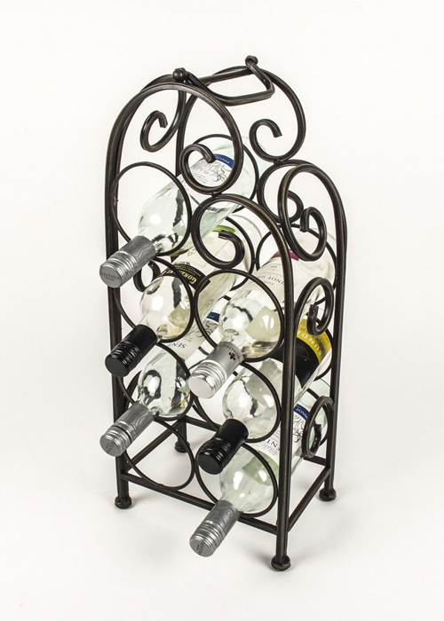 Vintage Style Black Metal Wine Rack d