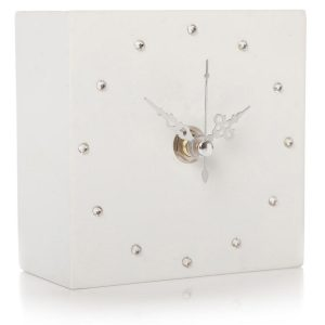 White Cube Square Silver Clock