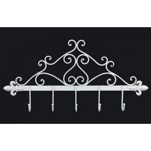 XX8880-AW white metal ornate hook rack