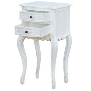 j2113a-wh-open_1 Ornate French Country White Bedside Table