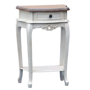 tfg003-aw French Farmhouse Natural White Bedside Table